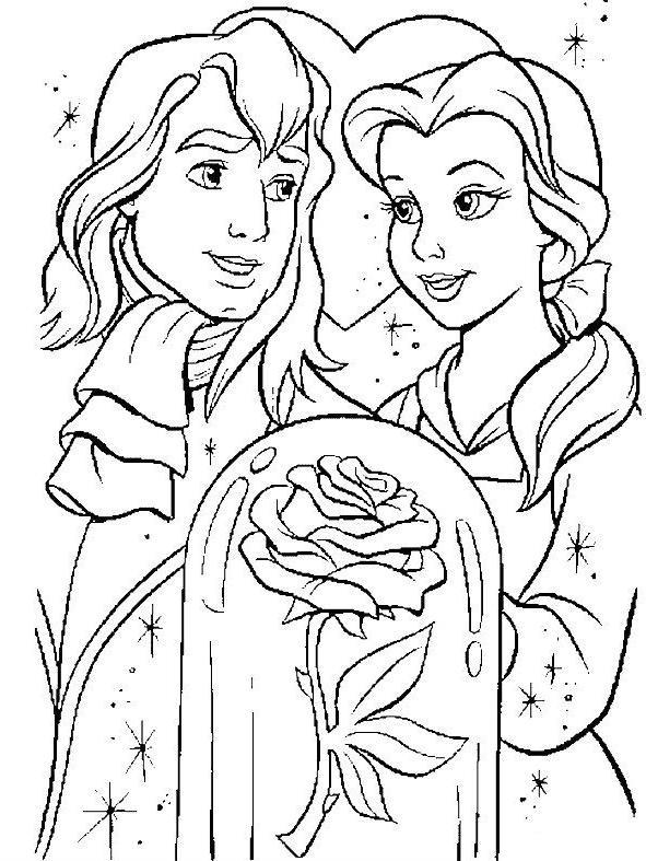 Coloriage et dessins gratuits La belle avec son prince à imprimer