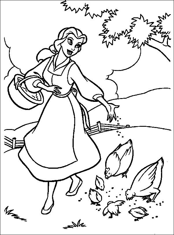 Coloriage et dessins gratuits La belle donne des graines aux poules à imprimer