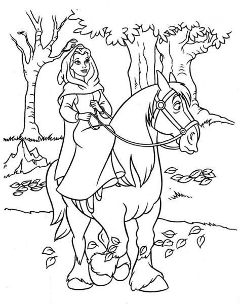 Coloriage et dessins gratuits La belle  en premenade à imprimer