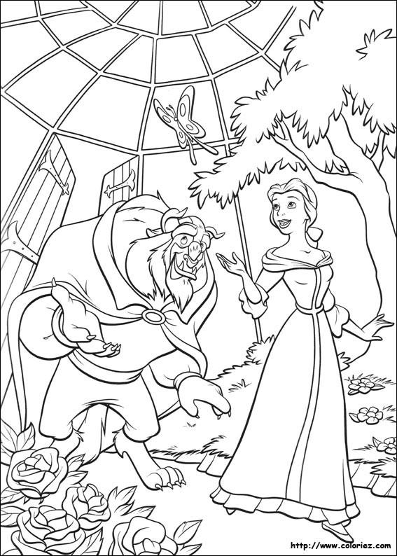 Coloriage et dessins gratuits La belle et la bête dans la pépinière à imprimer