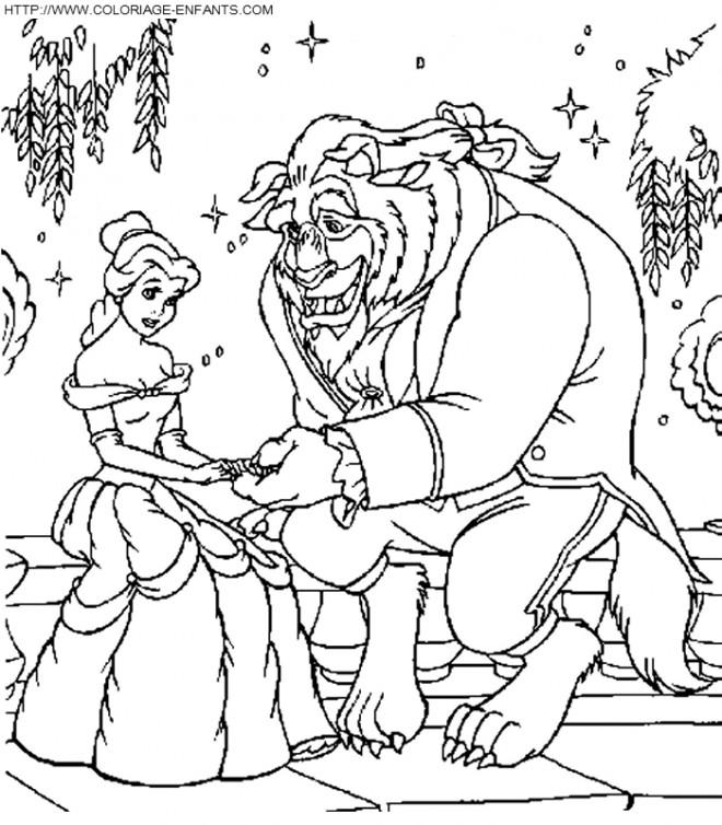 Coloriage et dessins gratuits La belle et la bête dans le jardin à imprimer