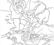 Coloriage et dessins gratuit La belle et la bête  en picnic à imprimer