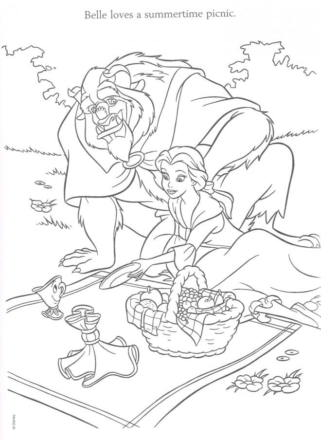 Coloriage et dessins gratuits La belle et la bête  en picnic à imprimer