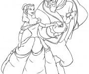 Coloriage et dessins gratuit La belle et la bête prêts à danser à imprimer