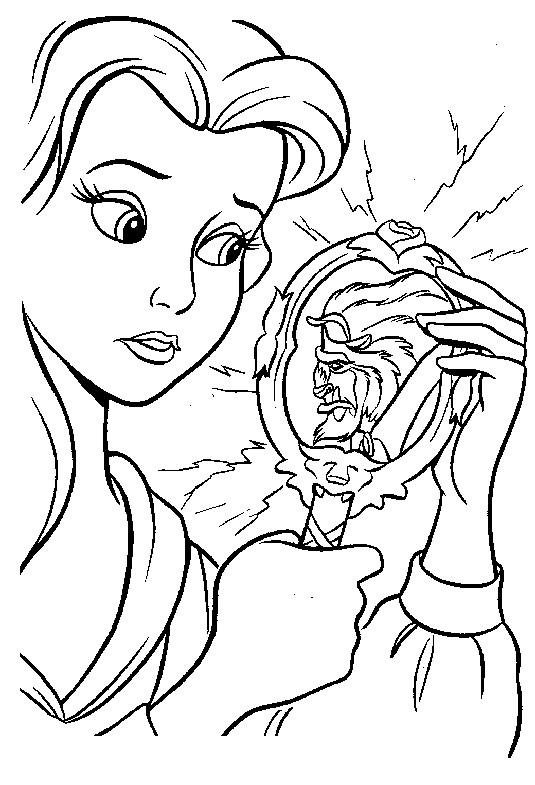 Coloriage et dessins gratuits La belle et son miroir à imprimer