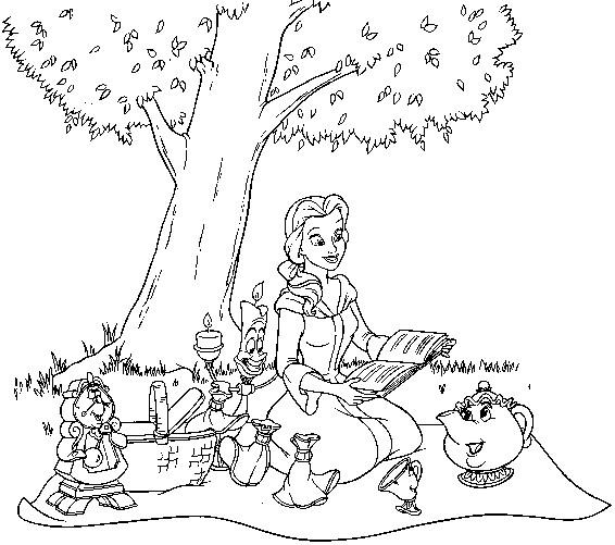 Coloriage et dessins gratuits La belle lie un livre à imprimer