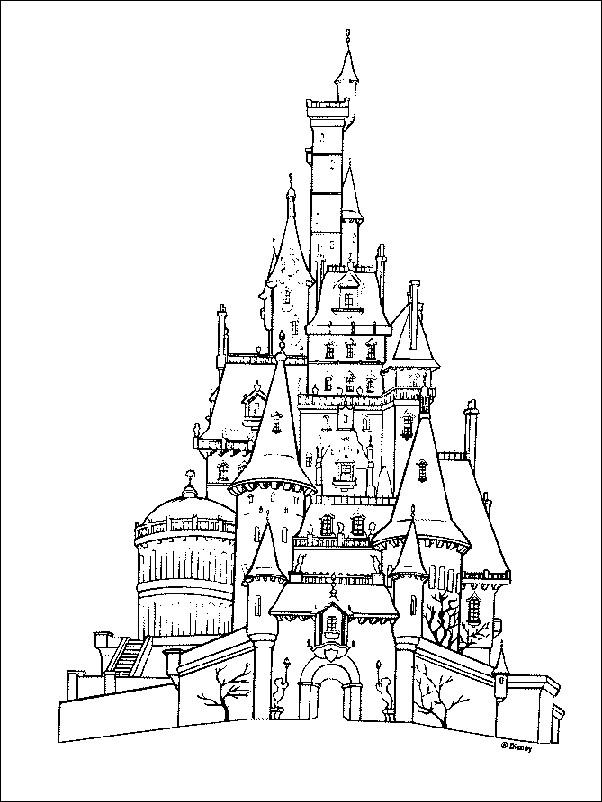 Coloriage Le Chateau De La Belle Et La Bete