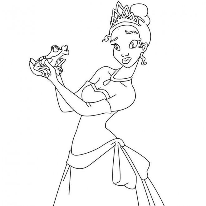 Coloriage et dessins gratuits La belle princesse Tiana et la grenouille à imprimer