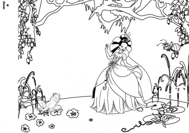 Coloriage et dessins gratuits La princesse et la grenouille dans le jardin à imprimer