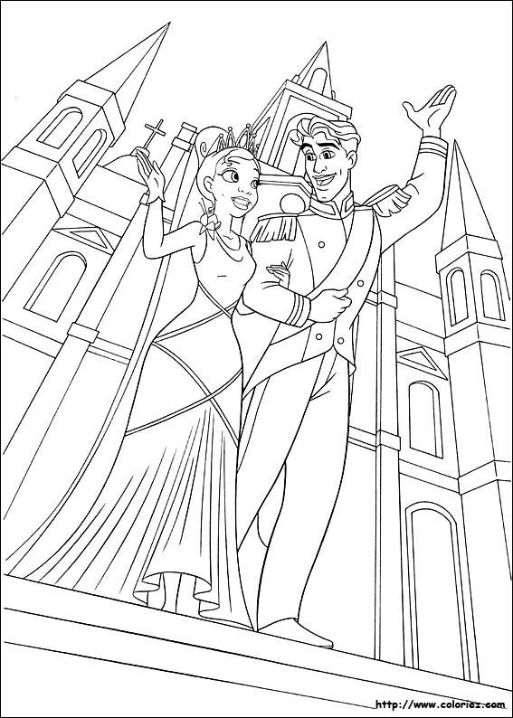 Coloriage et dessins gratuits La princesse et le prince naveen devant le chateau à imprimer