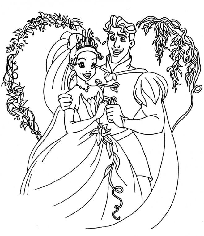 Coloriage et dessins gratuits La princesse et le prince se marient à imprimer