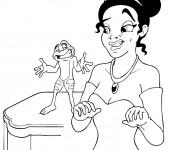 Coloriage La princesse parle avec  la grenouille