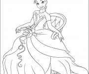 Coloriage La princesse Tiana assise
