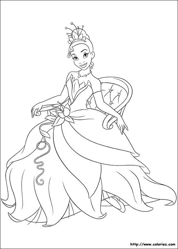 Coloriage La princesse Tiana assise