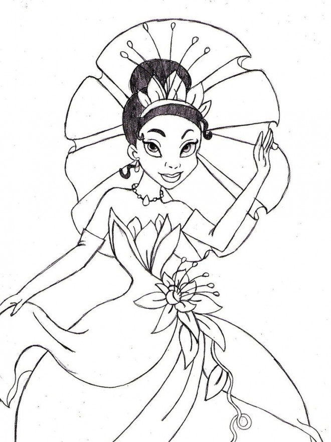 Coloriage et dessins gratuits La princesse Tiana dessin à imprimer