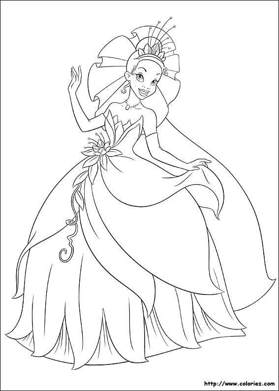 Coloriage et dessins gratuits La princesse Tiana disney à imprimer