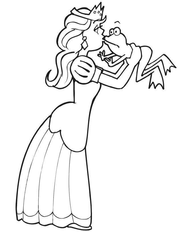Coloriage et dessins gratuits Tiana embrasse la grenouille à imprimer