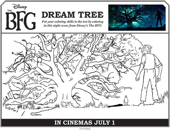 Coloriage et dessins gratuits Le bon gros géant devant l'arbre à imprimer