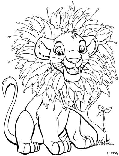Coloriage et dessins gratuits Le petit Roi Lion entouré des feuilles à imprimer
