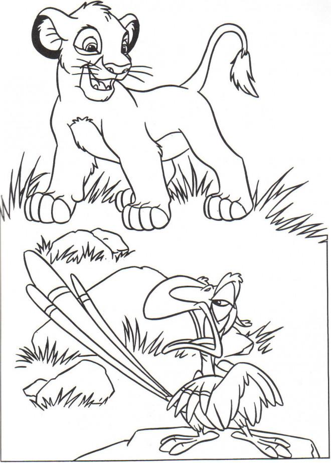 Coloriage et dessins gratuits Le petit  Roi Lion et Zazu à imprimer