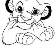 Coloriage Le petit  Roi Lion sourit