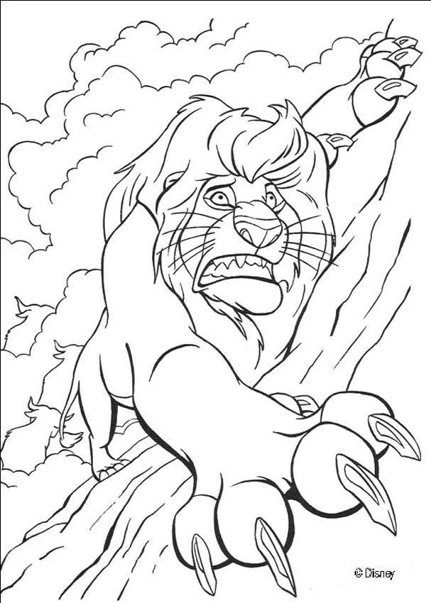 Coloriage et dessins gratuits Le roi lion et la mort de Mufasa à imprimer