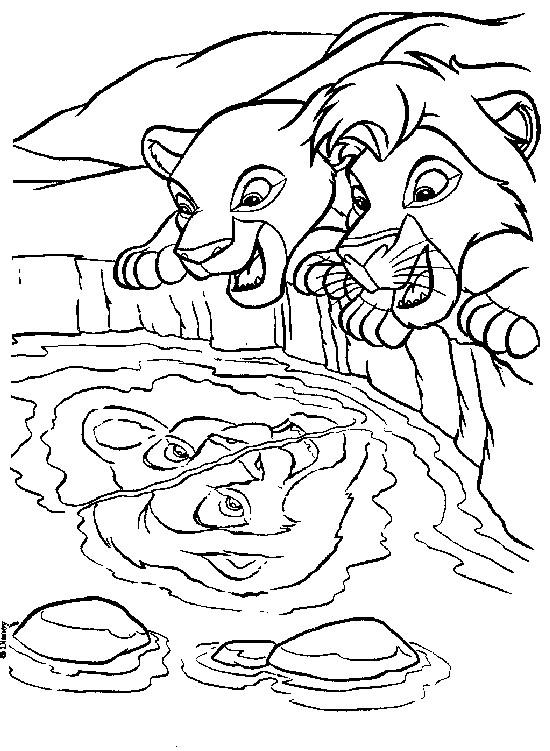 Coloriage et dessins gratuits Le Roi Lion et Nala regardent leur reflexion à imprimer