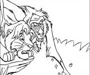 Coloriage Le Roi Lion et Rafiki