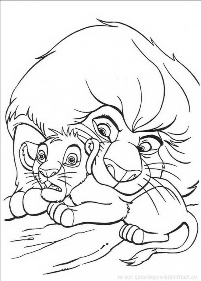 Coloriage le roi lion et son petit dessin gratuit imprimer - Coloriage roi lion 2 ...