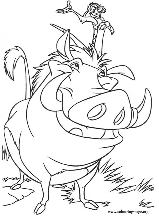 Coloriage et dessins gratuits Le Roi Lion Pumbaa et Timon à imprimer