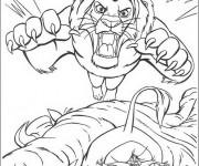 Coloriage Le Roi Lion s'aprête à se défendre