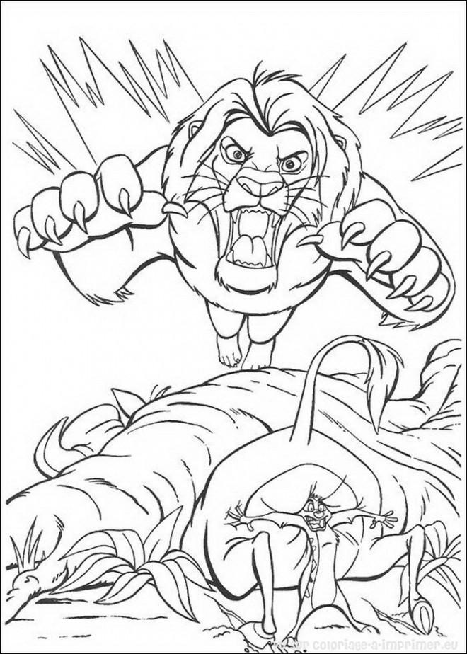 Coloriage et dessins gratuits Le Roi Lion s'aprête à se défendre à imprimer
