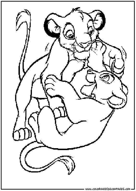 Coloriage le roi lion simba et nala dessin gratuit imprimer - Le roi lion a colorier ...