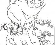 Coloriage dessin  Le Roi Lion Simba, Pumbaa et Timon