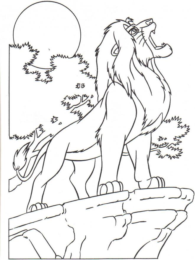Coloriage le rugissement du roi lion dessin gratuit imprimer - Dessin simba roi lion ...