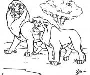 Coloriage Mufasa et Simba en balade