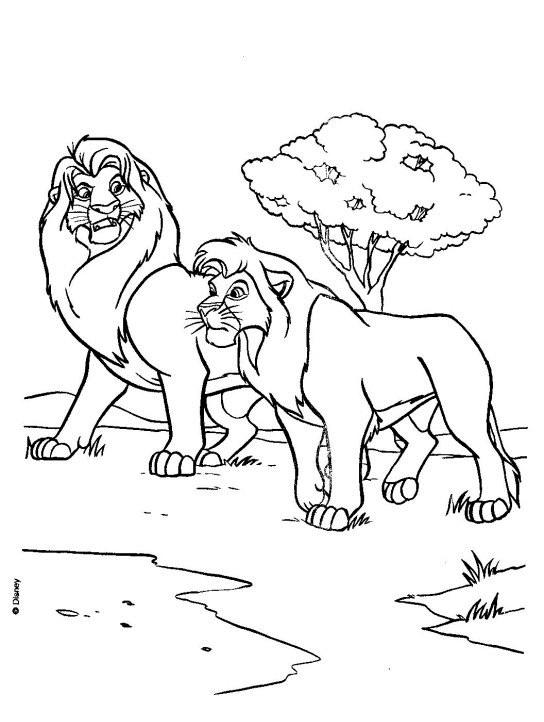 Coloriage mufasa et simba en balade dessin gratuit imprimer - Le roi lion a colorier ...