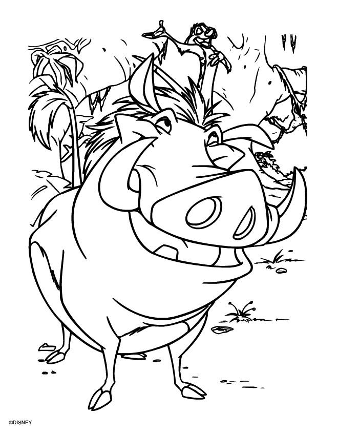 Coloriage et dessins gratuits Pumbaa et Timon chantent à imprimer