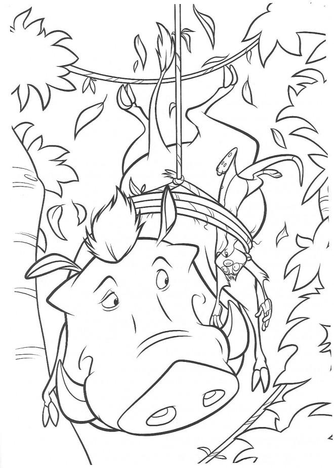 Coloriage et dessins gratuits Pumbaa et Timon en captivité à imprimer