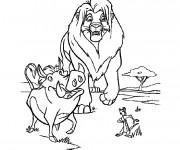 Coloriage et dessins gratuit Simba, Pumbaa et Timon à imprimer