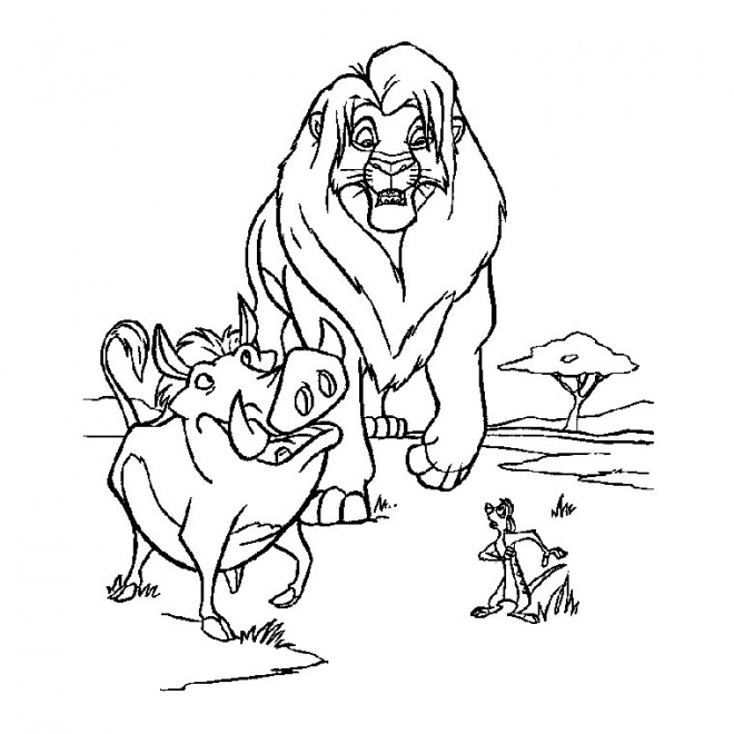 Coloriage Simba Pumbaa Et Timon Dessin Gratuit à Imprimer
