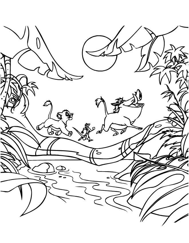 Coloriage et dessins gratuits Simba, Pumbaa et Timon se promènent à imprimer