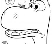 Coloriage dessin  Le bon dinosaure Arlo a peur