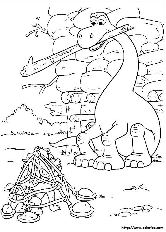 Coloriage et dessins gratuits Le bon dinosaure en couleur à imprimer