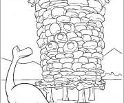 Coloriage dessin  Le bon dinosaure et son empreinte