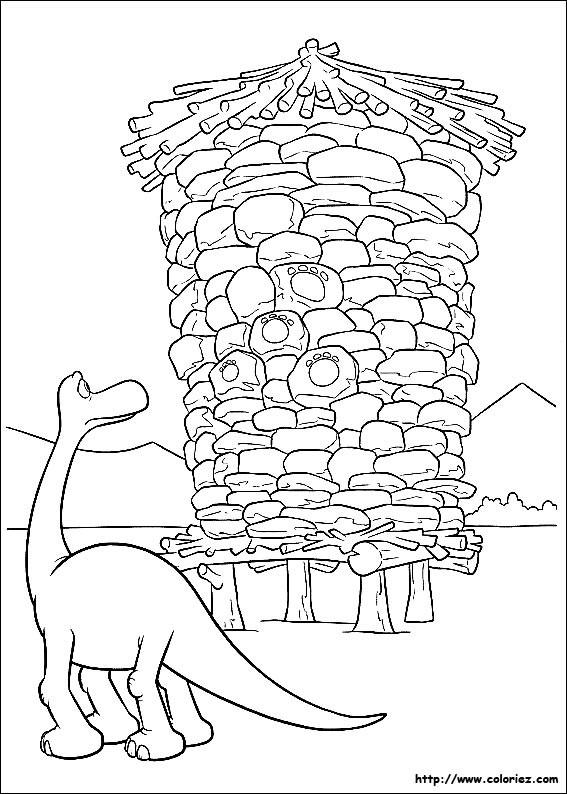 Coloriage et dessins gratuits Le bon dinosaure et son empreinte à imprimer