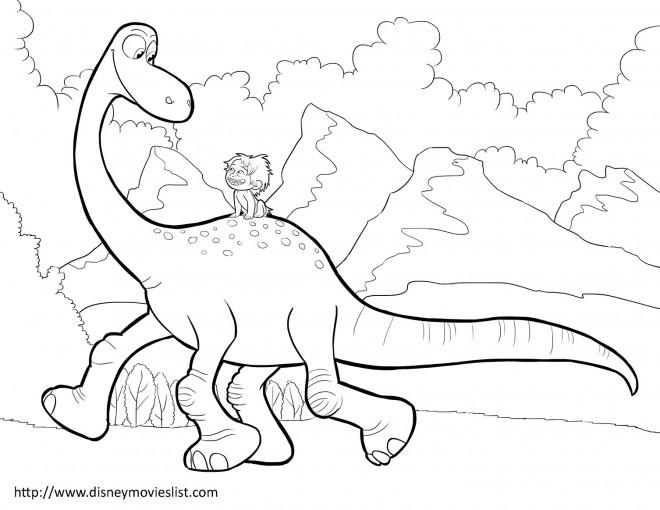 Coloriage et dessins gratuits Le bon dinosaure et Spot à imprimer