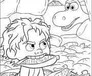 Coloriage dessin  Le bon dinosaure Spot vole les maïs d'Arlo