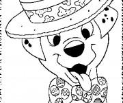 Coloriage Freckle porte une cravate et un chapeau