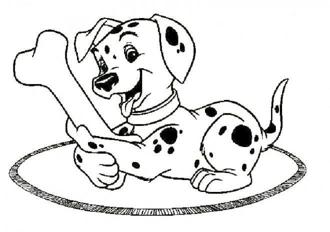 Coloriage et dessins gratuits Freckles joue avec un os à imprimer